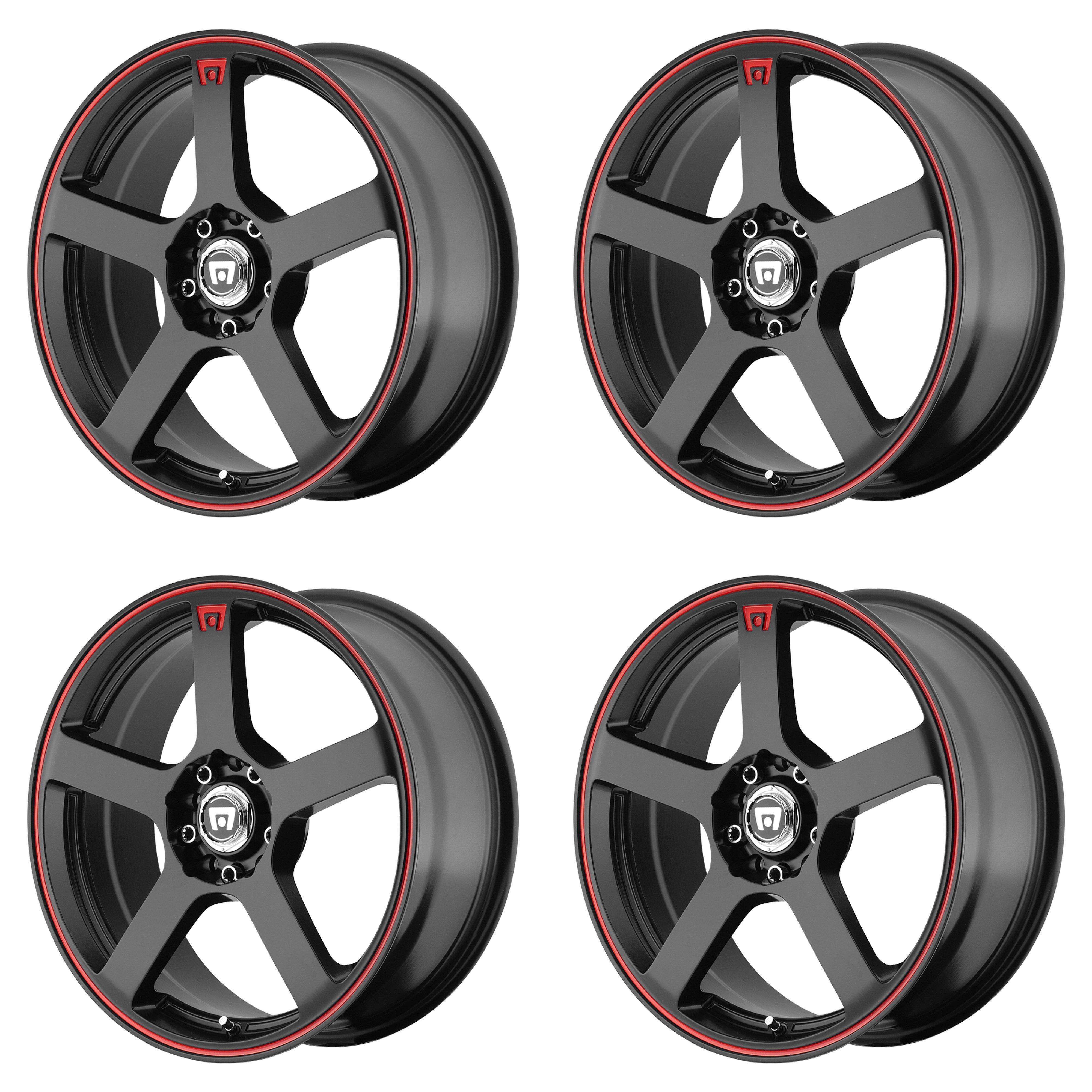 "35mm 5.88/"" Motegi 18x8 MR116 Wheel Matte Black Red Stripe 5x4.5 5x100 5x114.3"