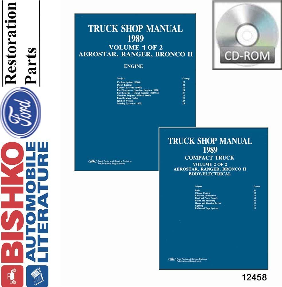 Oem Repair Maintenance Shop Manual Cd Ford Truck Aerostar  Bronco Ii  Ranger 1989