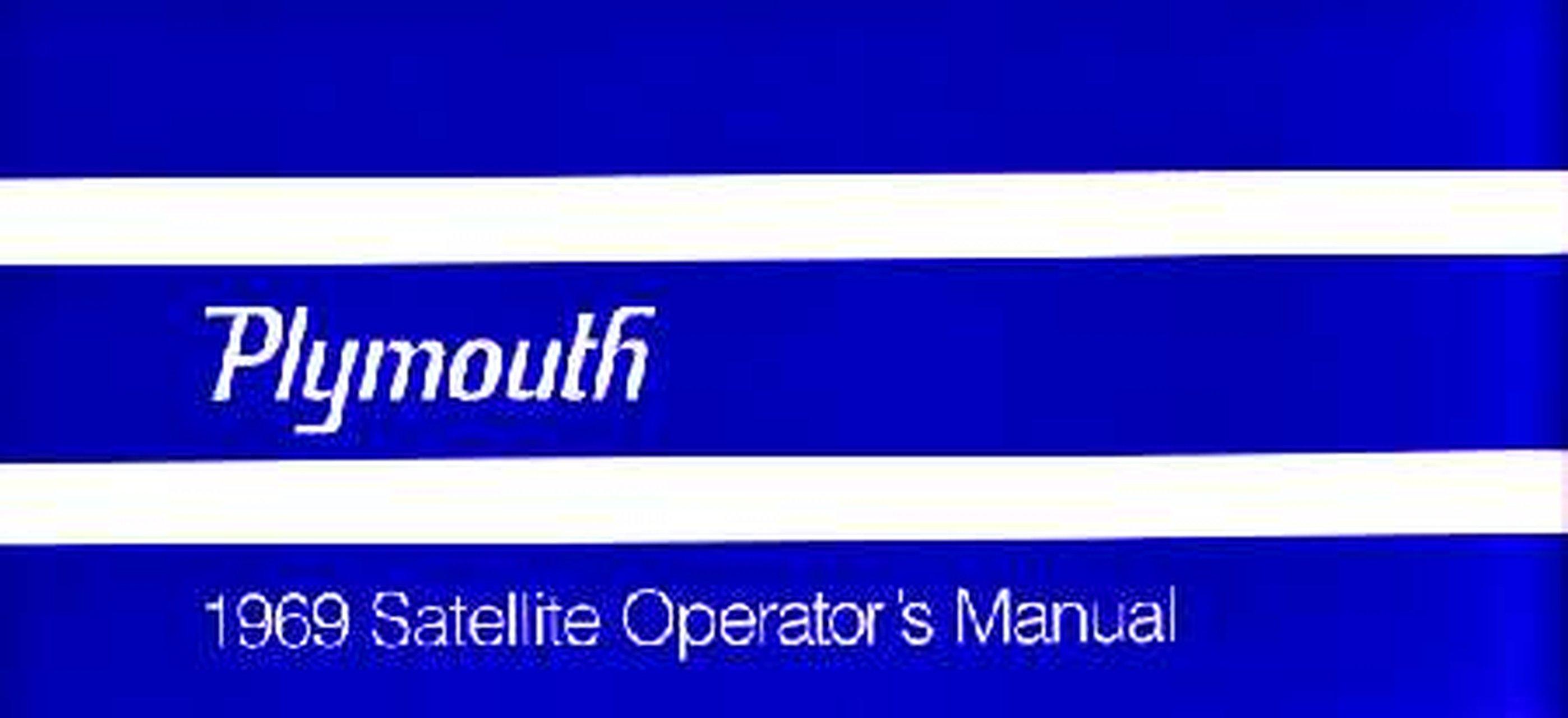 Oem Owner S Manual Plymouth Belvedere Gtx Road Runner Satellite 1969 Ebay
