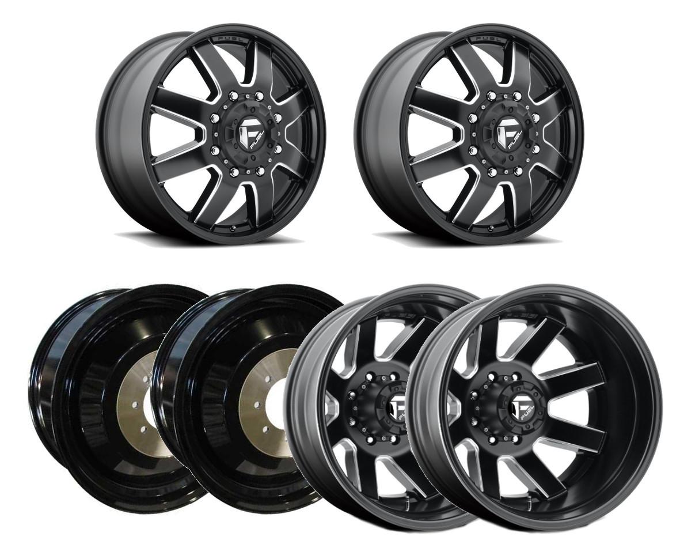 Fuel D538 Maverick Dually Rear 24x8.25 8x200 Black//Milled Wheel Rim 24 Inch