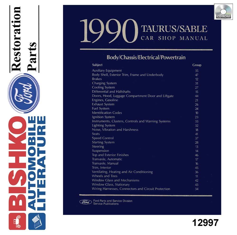 Oem Digital Maintenance Shop Manual Cd For Ford Taurus  Mercury Sable 1990
